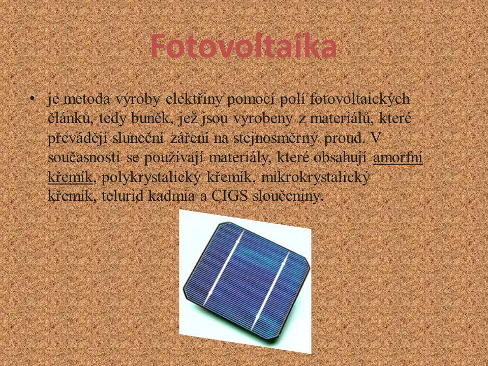 Fotovoltaika je metoda výroby elektřiny pomocí polí fotovoltaických článků, tedy buněk, jež jsou vyrobeny z materiálů, které převádějí sluneční záření