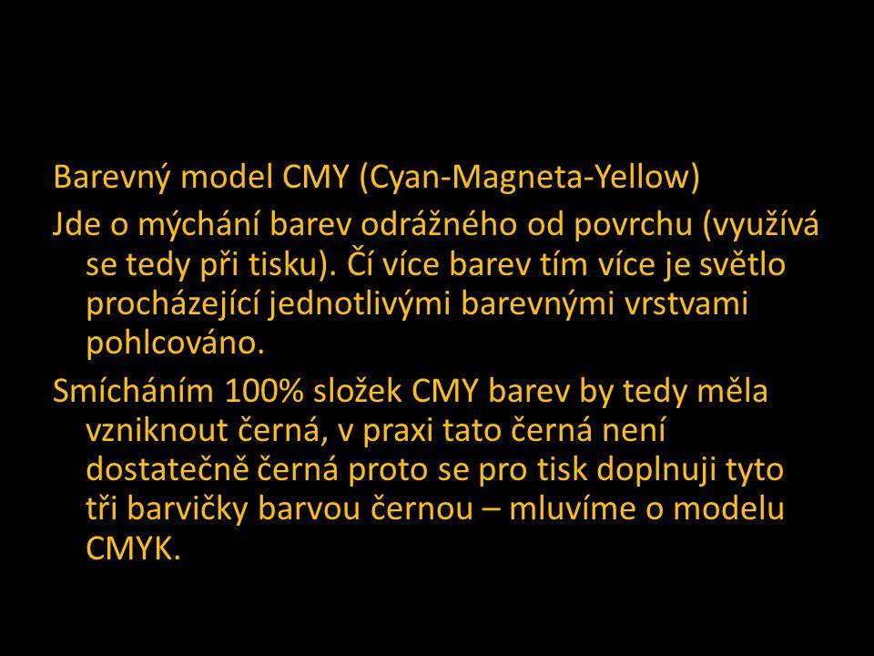 Barevný model CMY (Cyan-Magneta-Yellow) Jde o mýchání barev odrážného od povrchu (využívá se tedy při tisku). Čí více barev tím více je světlo procház