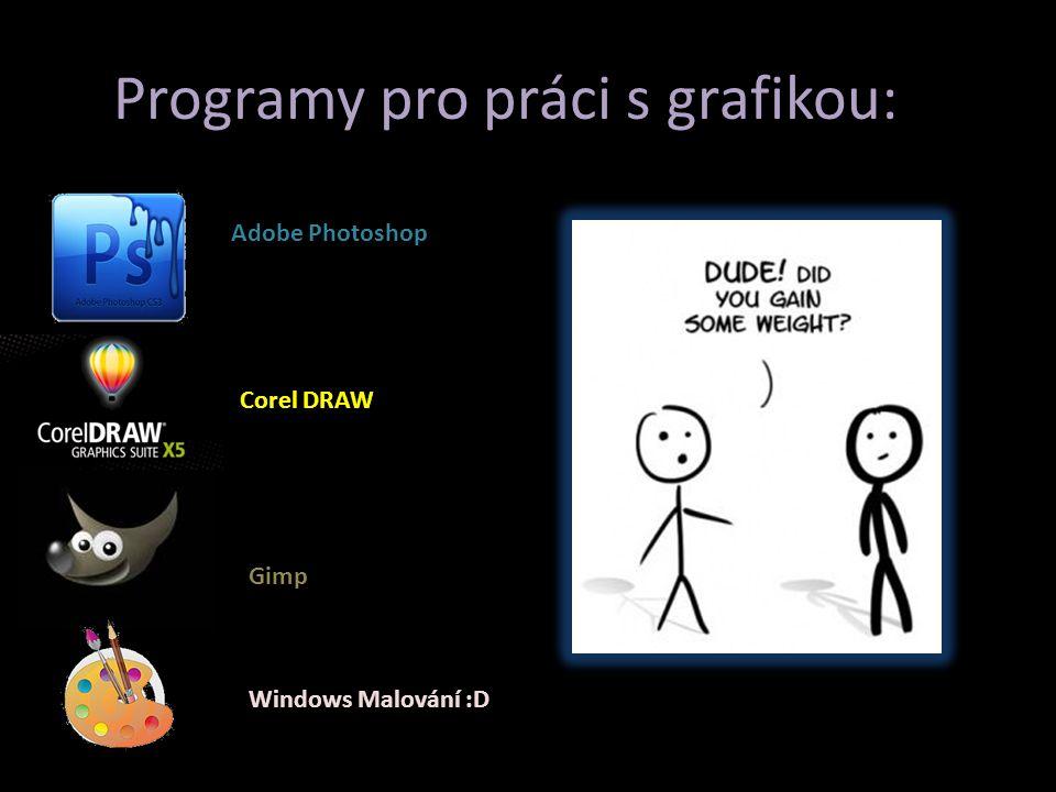 P Programy pro práci s grafikou: Adobe Photoshop Corel DRAW Gimp Windows Malování :D