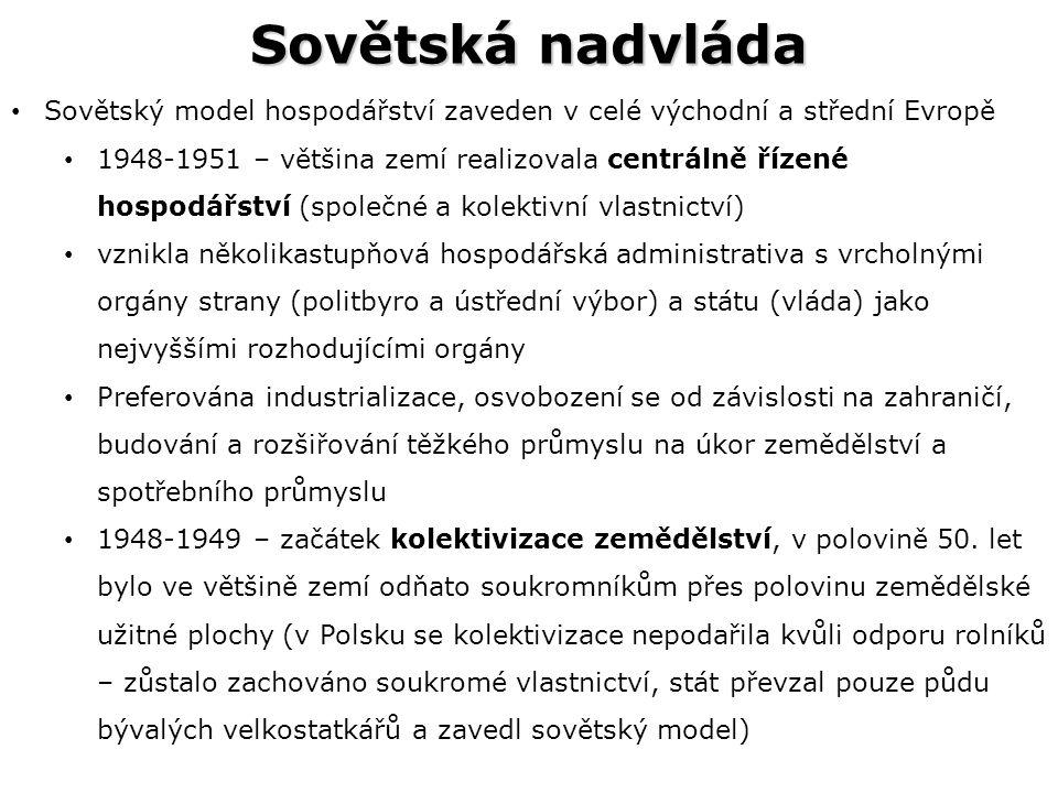 Sovětská nadvláda Sovětský model hospodářství zaveden v celé východní a střední Evropě 1948-1951 – většina zemí realizovala centrálně řízené hospodářství (společné a kolektivní vlastnictví) vznikla několikastupňová hospodářská administrativa s vrcholnými orgány strany (politbyro a ústřední výbor) a státu (vláda) jako nejvyššími rozhodujícími orgány Preferována industrializace, osvobození se od závislosti na zahraničí, budování a rozšiřování těžkého průmyslu na úkor zemědělství a spotřebního průmyslu 1948-1949 – začátek kolektivizace zemědělství, v polovině 50.
