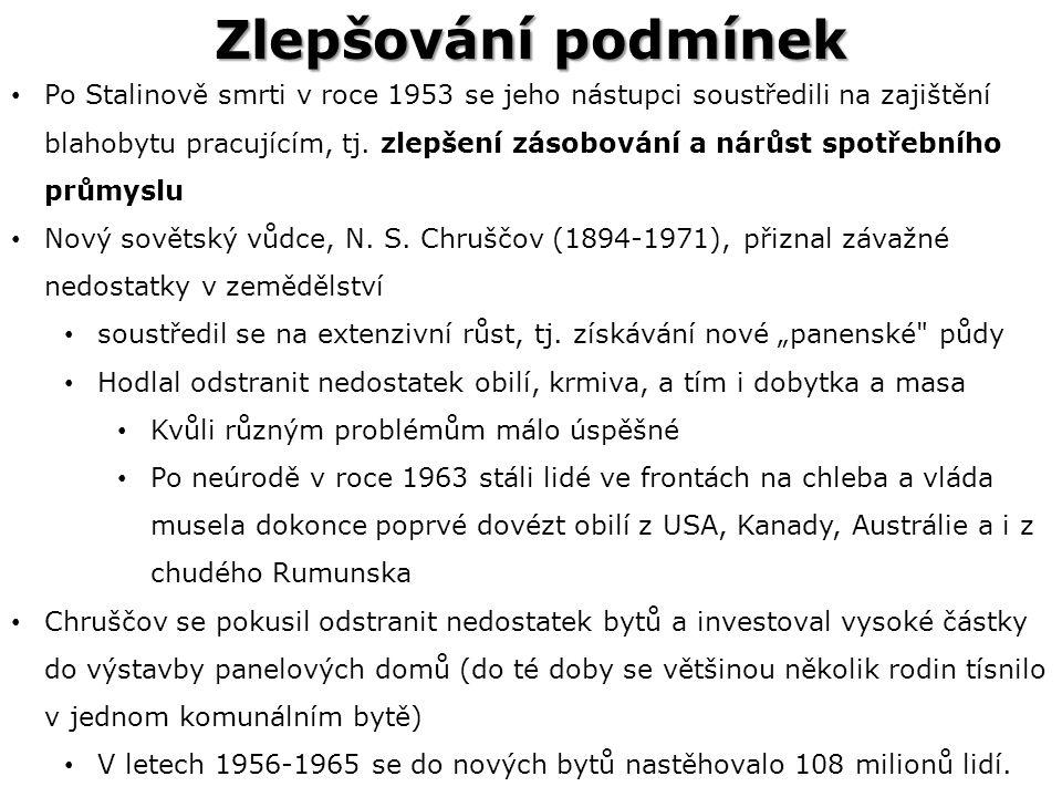 Zlepšování podmínek Po Stalinově smrti v roce 1953 se jeho nástupci soustředili na zajištění blahobytu pracujícím, tj.