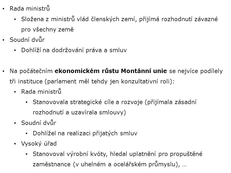 Rada ministrů Složena z ministrů vlád členských zemí, přijímá rozhodnutí závazné pro všechny země Soudní dvůr Dohlíží na dodržování práva a smluv Na počátečním ekonomickém růstu Montánní unie se nejvíce podílely tři instituce (parlament měl tehdy jen konzultativní roli): Rada ministrů Stanovovala strategické cíle a rozvoje (přijímala zásadní rozhodnutí a uzavírala smlouvy) Soudní dvůr Dohlížel na realizaci přijatých smluv Vysoký úřad Stanovoval výrobní kvóty, hledal uplatnění pro propuštěné zaměstnance (v uhelném a ocelářském průmyslu), …