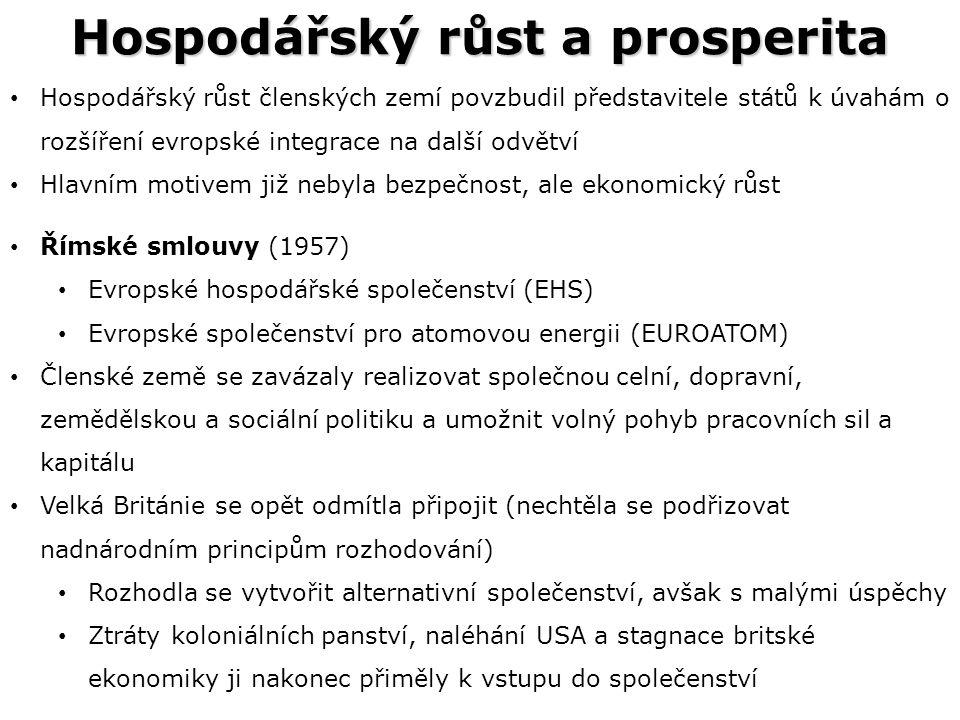 Hospodářský růst a prosperita Hospodářský růst členských zemí povzbudil představitele států k úvahám o rozšíření evropské integrace na další odvětví Hlavním motivem již nebyla bezpečnost, ale ekonomický růst Římské smlouvy (1957) Evropské hospodářské společenství (EHS) Evropské společenství pro atomovou energii (EUROATOM) Členské země se zavázaly realizovat společnou celní, dopravní, zemědělskou a sociální politiku a umožnit volný pohyb pracovních sil a kapitálu Velká Británie se opět odmítla připojit (nechtěla se podřizovat nadnárodním principům rozhodování) Rozhodla se vytvořit alternativní společenství, avšak s malými úspěchy Ztráty koloniálních panství, naléhání USA a stagnace britské ekonomiky ji nakonec přiměly k vstupu do společenství