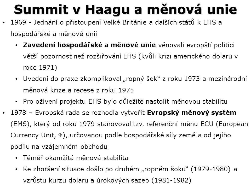 """Summit v Haagu a měnová unie 1969 - Jednání o přistoupení Velké Británie a dalších států k EHS a hospodářské a měnové unii Zavedení hospodářské a měnové unie věnovali evropští politici větší pozornost než rozšiřování EHS (kvůli krizi amerického dolaru v roce 1971) Uvedení do praxe zkomplikoval """"ropný šok z roku 1973 a mezinárodní měnová krize a recese z roku 1975 Pro oživení projektu EHS bylo důležité nastolit měnovou stabilitu 1978 – Evropská rada se rozhodla vytvořit Evropský měnový systém (EMS), který od roku 1979 stanovoval tzv."""