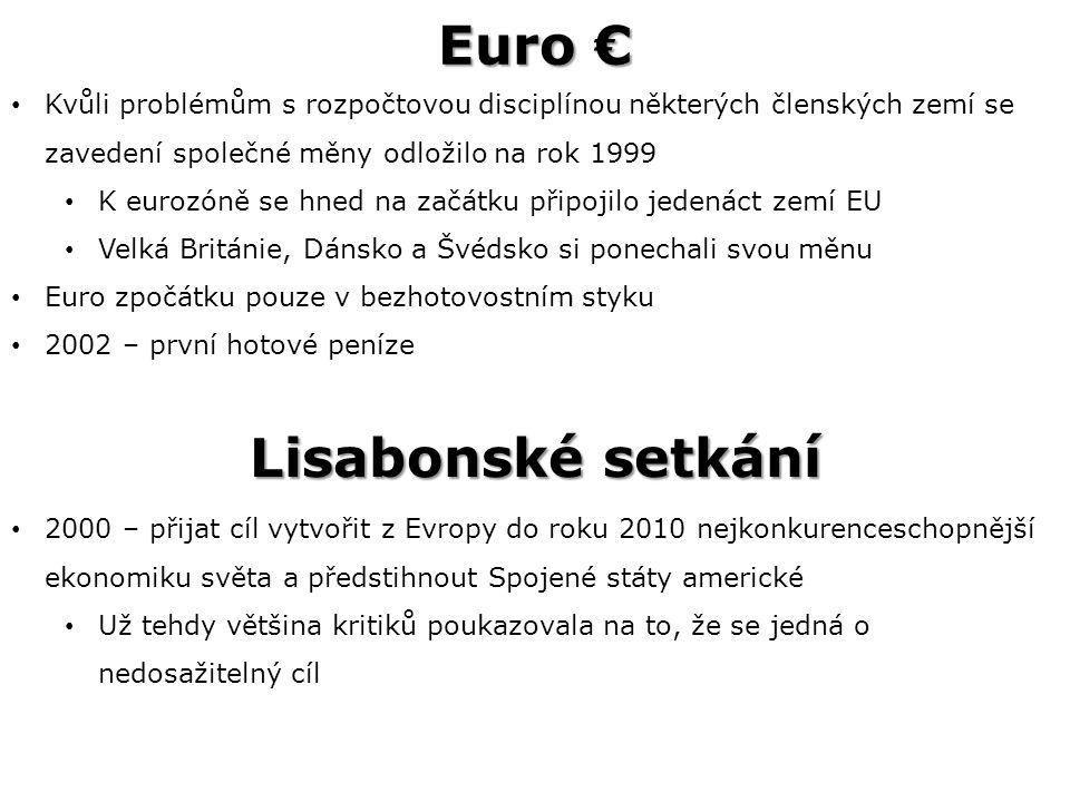 Euro € Kvůli problémům s rozpočtovou disciplínou některých členských zemí se zavedení společné měny odložilo na rok 1999 K eurozóně se hned na začátku připojilo jedenáct zemí EU Velká Británie, Dánsko a Švédsko si ponechali svou měnu Euro zpočátku pouze v bezhotovostním styku 2002 – první hotové peníze 2000 – přijat cíl vytvořit z Evropy do roku 2010 nejkonkurenceschopnější ekonomiku světa a předstihnout Spojené státy americké Už tehdy většina kritiků poukazovala na to, že se jedná o nedosažitelný cíl Lisabonské setkání