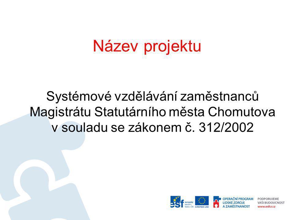 Realizátor projektu STATUTÁRNÍ MĚSTO CHOMUTOV Zkrácený název projektu Nový e-learning v Chomutově Registrační číslo projektu CZ.1.04/4.1.01/69.00020