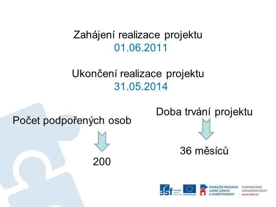 Zahájení realizace projektu 01.06.2011 Ukončení realizace projektu 31.05.2014 Počet podpořených osob Doba trvání projektu 200 36 měsíců