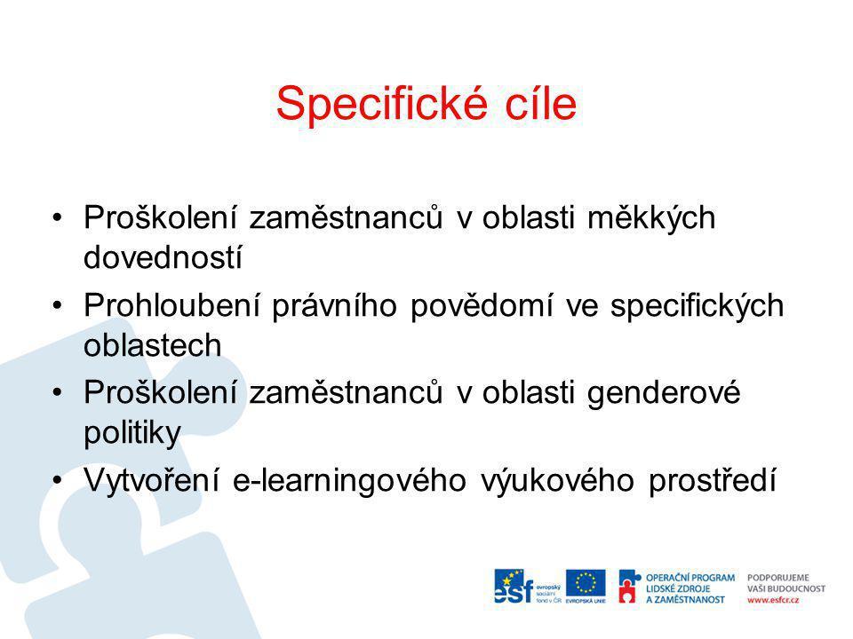 Specifické cíle Proškolení zaměstnanců v oblasti měkkých dovedností Prohloubení právního povědomí ve specifických oblastech Proškolení zaměstnanců v oblasti genderové politiky Vytvoření e-learningového výukového prostředí