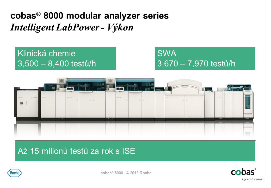Klinická chemie 3,500 – 8,400 testů/h SWA 3,670 – 7,970 testů/h Až 15 milionů testů za rok s ISE cobas ® 8000 modular analyzer series Intelligent LabPower - Výkon cobas ® 8000 © 2012 Roche