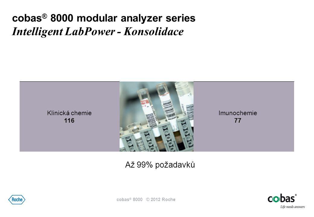 Imunochemie 77 Klinická chemie 116 Až 99% požadavků cobas ® 8000 modular analyzer series Intelligent LabPower - Konsolidace cobas ® 8000 © 2012 Roche