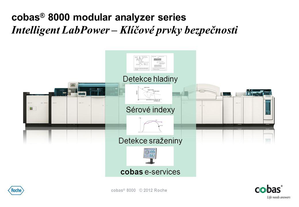 Detekce hladiny Sérové indexy Detekce sraženiny cobas e-services cobas ® 8000 modular analyzer series Intelligent LabPower – Klíčové prvky bezpečnosti cobas ® 8000 © 2012 Roche