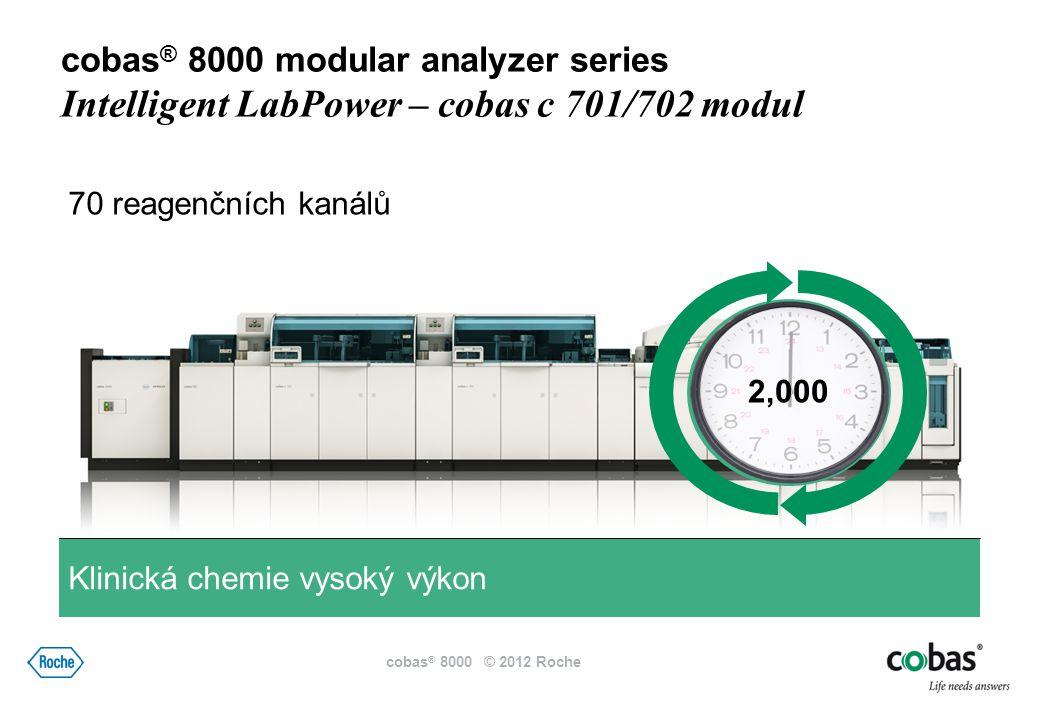 60 reagenčních kanálů 600 Klinická chemie střední výkon cobas ® 8000 modular analyzer series Intelligent LabPower - cobas c 502 modul cobas ® 8000 © 2012 Roche
