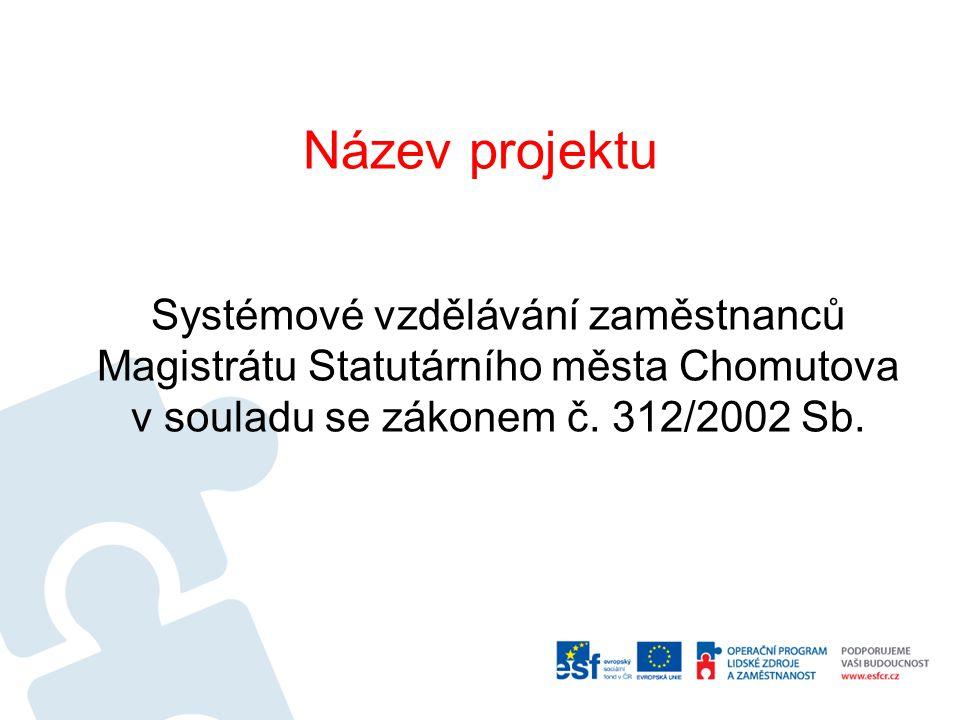 Název projektu Systémové vzdělávání zaměstnanců Magistrátu Statutárního města Chomutova v souladu se zákonem č.
