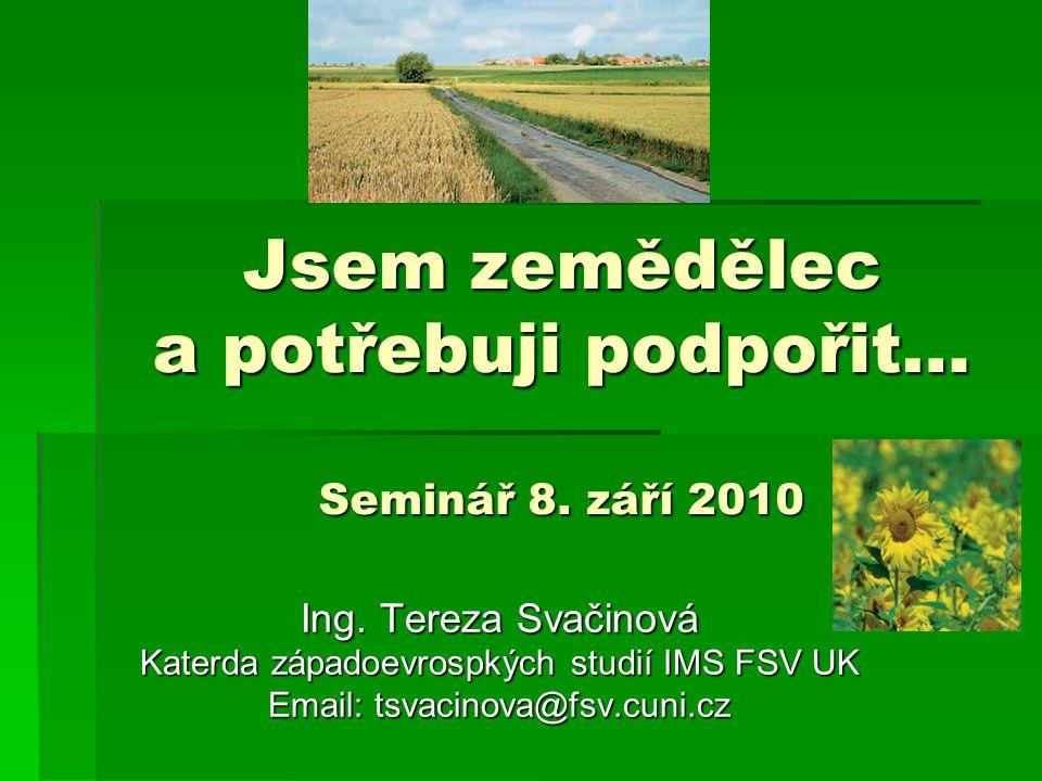 Obsah prezentace  Specifika agrárního trhu  Některé důvody vzniku Společné zemědělské politiky (dále jen SZP)  Proč je SZP tak kontroverzní politika.