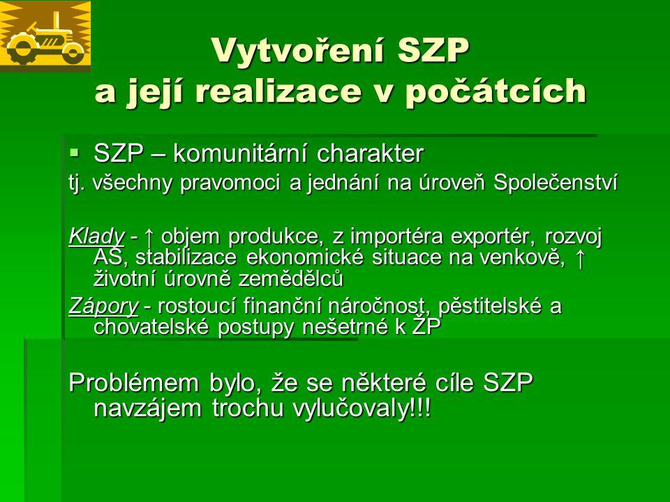 Vytvoření SZP a její realizace v počátcích  SZP – komunitární charakter tj.
