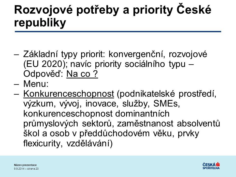9.9.2014 – strana 20 Název prezentace Rozvojové potřeby a priority České republiky –Základní typy priorit: konvergenční, rozvojové (EU 2020); navíc priority sociálního typu – Odpověď: Na co .