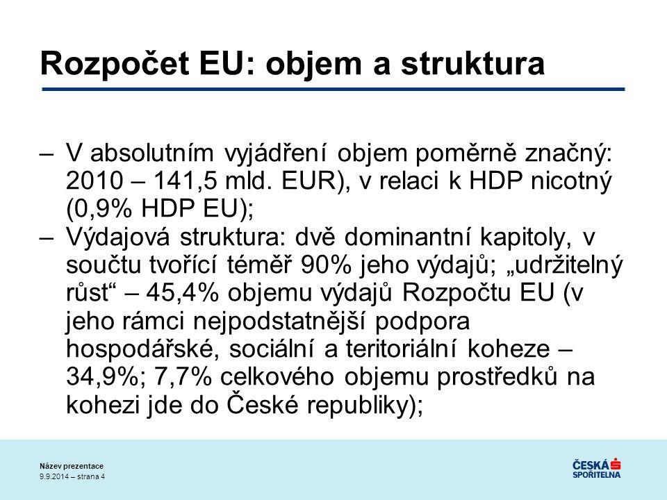 9.9.2014 – strana 4 Název prezentace Rozpočet EU: objem a struktura –V absolutním vyjádření objem poměrně značný: 2010 – 141,5 mld.