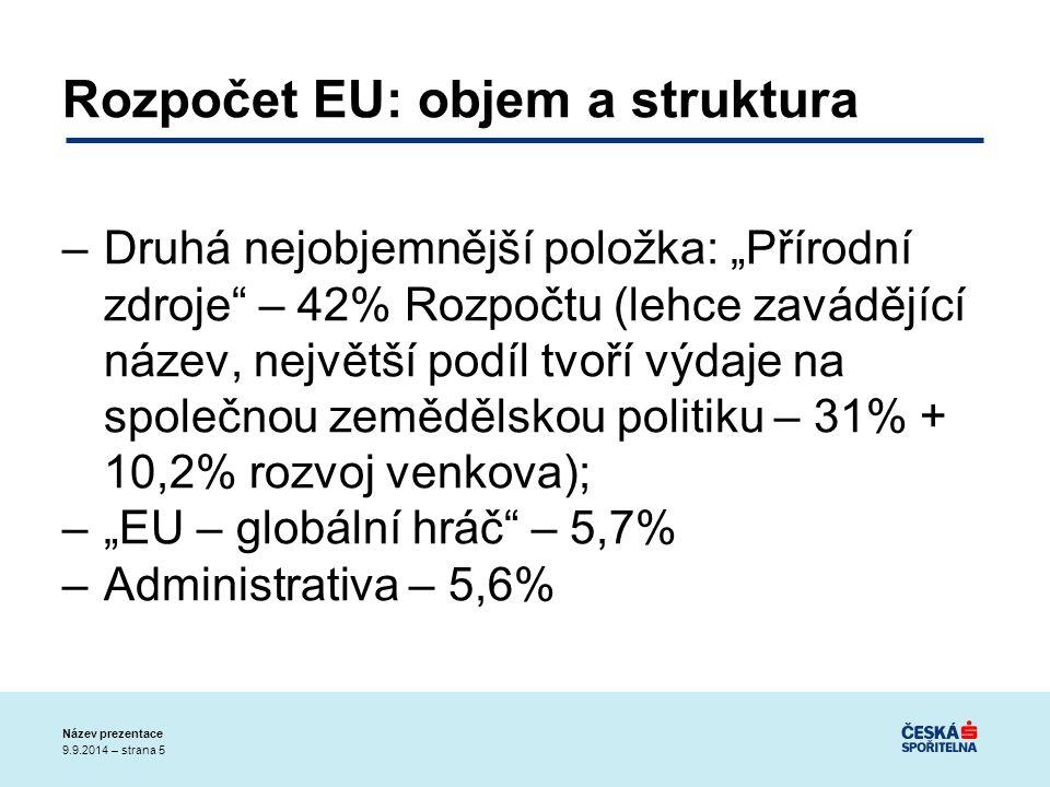 """9.9.2014 – strana 5 Název prezentace Rozpočet EU: objem a struktura –Druhá nejobjemnější položka: """"Přírodní zdroje – 42% Rozpočtu (lehce zavádějící název, největší podíl tvoří výdaje na společnou zemědělskou politiku – 31% + 10,2% rozvoj venkova); –""""EU – globální hráč – 5,7% –Administrativa – 5,6%"""