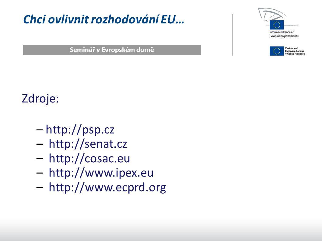 Chci ovlivnit rozhodování EU… Seminář v Evropském domě Zdroje: –http://psp.cz – http://senat.cz – http://cosac.eu – http://www.ipex.eu – http://www.ecprd.org