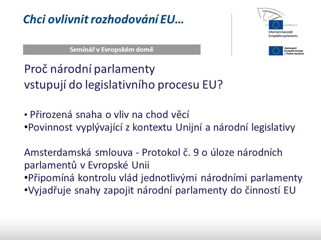 Chci ovlivnit rozhodování EU… Seminář v Evropském domě Proč národní parlamenty vstupují do legislativního procesu EU? Přirozená snaha o vliv na chod v