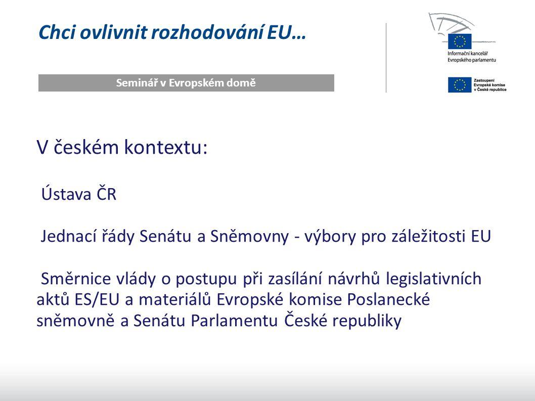 Chci ovlivnit rozhodování EU… Seminář v Evropském domě V českém kontextu: Ústava ČR Jednací řády Senátu a Sněmovny - výbory pro záležitosti EU Směrnic