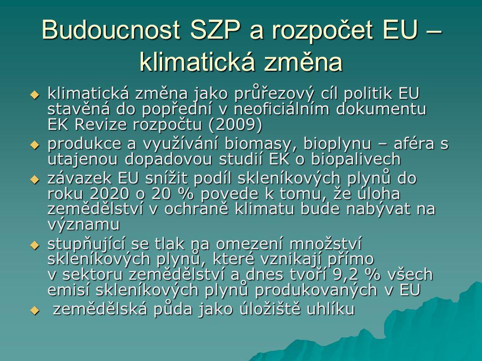 Budoucnost SZP a rozpočet EU – klimatická změna  klimatická změna jako průřezový cíl politik EU stavěná do popřední v neoficiálním dokumentu EK Revize rozpočtu (2009)  produkce a využívání biomasy, bioplynu – aféra s utajenou dopadovou studií EK o biopalivech  závazek EU snížit podíl skleníkových plynů do roku 2020 o 20 % povede k tomu, že úloha zemědělství v ochraně klimatu bude nabývat na významu  stupňující se tlak na omezení množství skleníkových plynů, které vznikají přímo v sektoru zemědělství a dnes tvoří 9,2 % všech emisí skleníkových plynů produkovaných v EU  zemědělská půda jako úložiště uhlíku