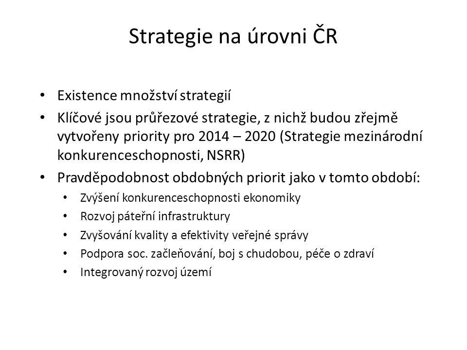 Strategie na úrovni ČR Existence množství strategií Klíčové jsou průřezové strategie, z nichž budou zřejmě vytvořeny priority pro 2014 – 2020 (Strategie mezinárodní konkurenceschopnosti, NSRR) Pravděpodobnost obdobných priorit jako v tomto období: Zvýšení konkurenceschopnosti ekonomiky Rozvoj páteřní infrastruktury Zvyšování kvality a efektivity veřejné správy Podpora soc.
