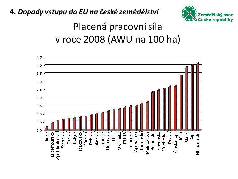 Placená pracovní síla v roce 2008 (AWU na 100 ha) 4. Dopady vstupu do EU na české zemědělství