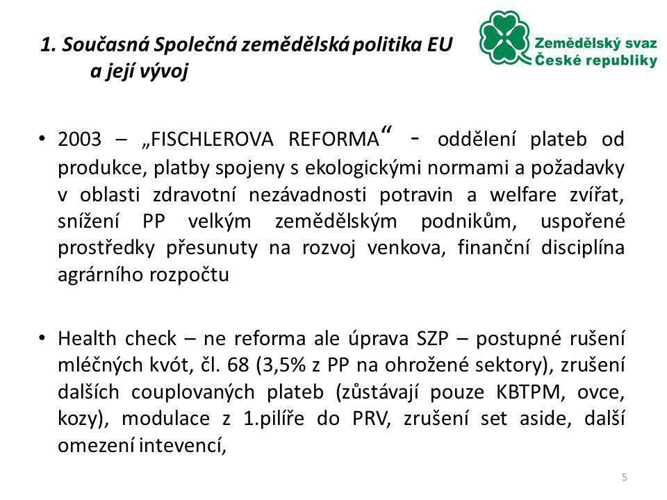 Průměrná výměra zemědělského podniku v roce 2007 (ha) 4. Dopady vstupu do EU na české zemědělství