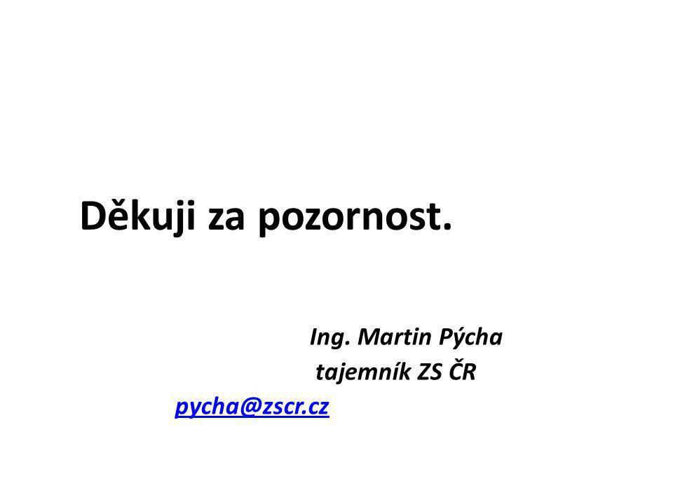 Děkuji za pozornost. Ing. Martin Pýcha tajemník ZS ČR pycha@zscr.cz