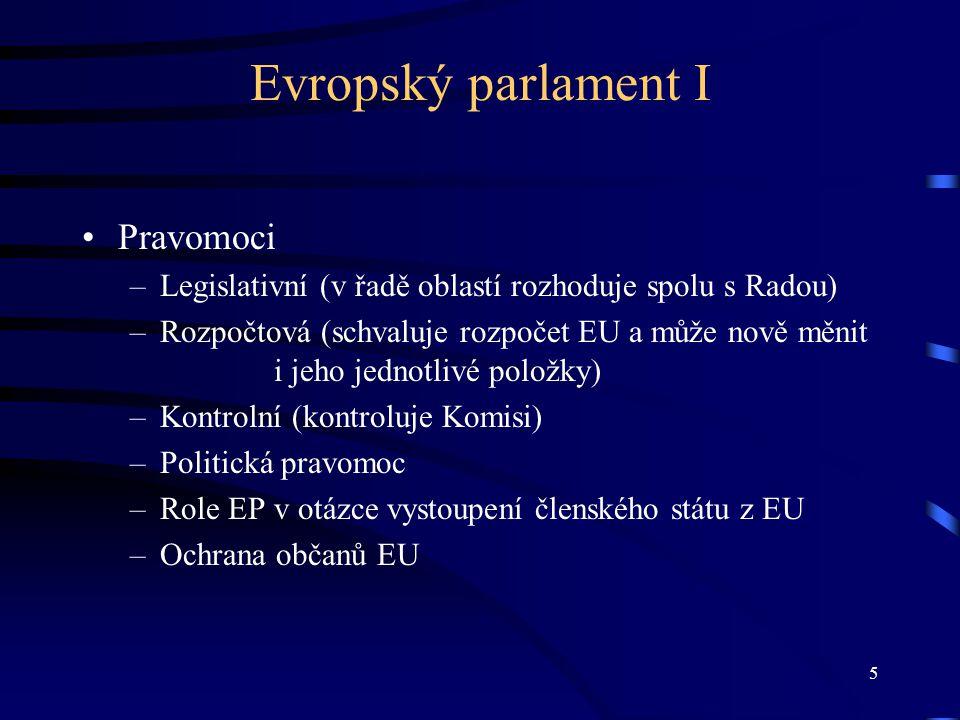 6 Evropský parlament II nadnárodní instituce jediný přímo volený orgán EU (volby od roku 1979) volební období 5 let 736 evropských poslanců (do roku 2014 má EP dočasně 754 poslanců, protože poslední volny probíhaly ještě podle smlouvy z Nice) orgány –předsednictvo (současný předseda Jerzy Buzek) –parlamentní výbory –konference předsedů –politické skupiny (obdoba parlamentních klubů) od roku 1989 posilování pravice