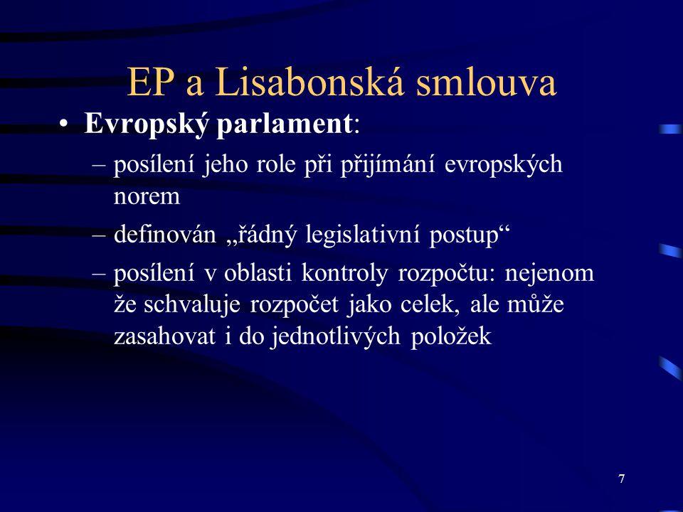 8 Rozšíření procedury spolurozhodování Lisabonskou smlouvou dojde k výraznému přesunu oblastí a politik EU do režimu řádného legislativního postupu, tedy procedury spolurozhodování, kde Evropský parlament vystupuje jako rovnocenný partner Rady EU.