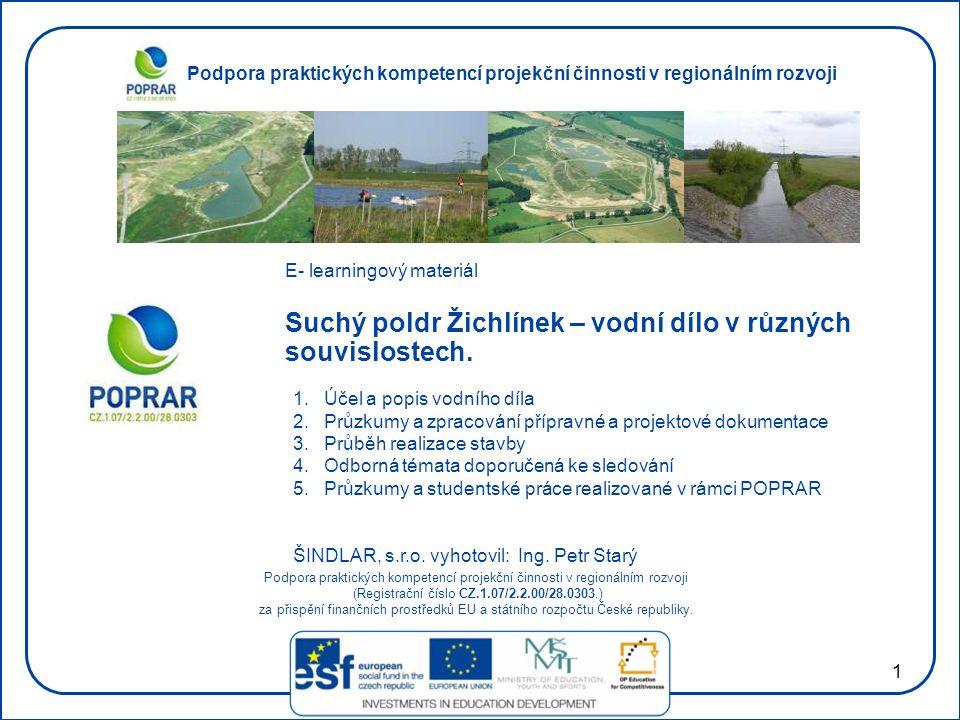 Podpora praktických kompetencí projekční činnosti v regionálním rozvoji 1 E- learningový materiál Suchý poldr Žichlínek – vodní dílo v různých souvislostech.