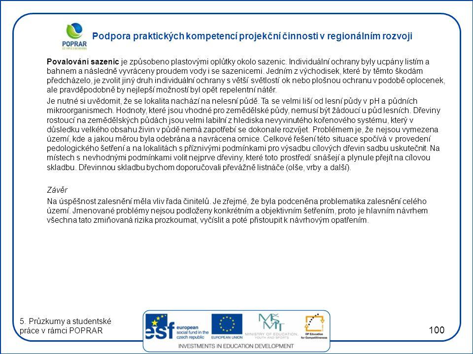 Podpora praktických kompetencí projekční činnosti v regionálním rozvoji 100 Povalování sazenic je způsobeno plastovými oplůtky okolo sazenic.