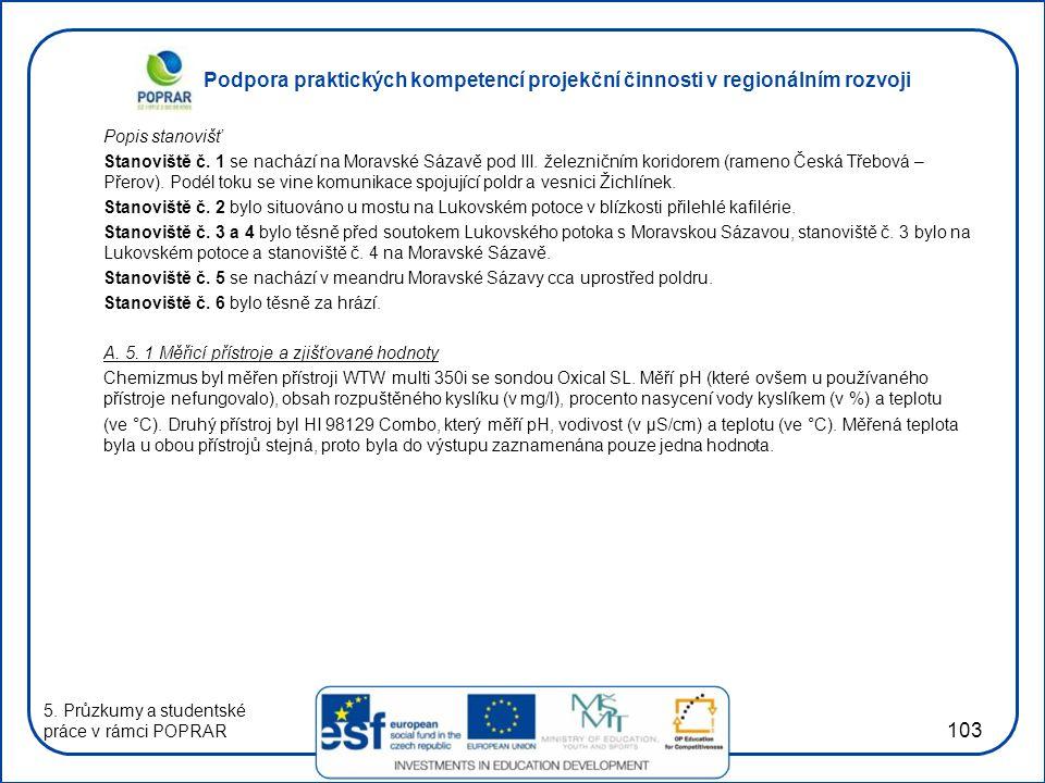 Podpora praktických kompetencí projekční činnosti v regionálním rozvoji 103 Popis stanovišť Stanoviště č.