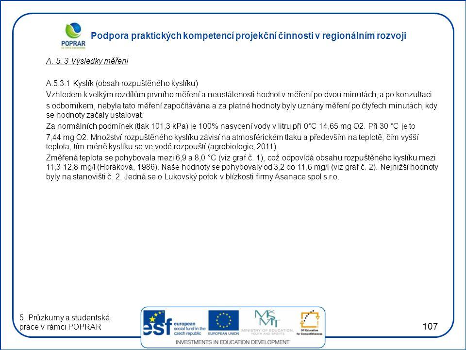 Podpora praktických kompetencí projekční činnosti v regionálním rozvoji 107 A. 5. 3 Výsledky měření A.5.3.1 Kyslík (obsah rozpuštěného kyslíku) Vzhled