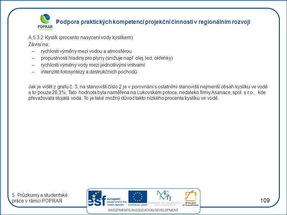 Podpora praktických kompetencí projekční činnosti v regionálním rozvoji 109 A.5.3.2 Kyslík (procento nasycení vody kyslíkem) Závisí na: –rychlosti vým