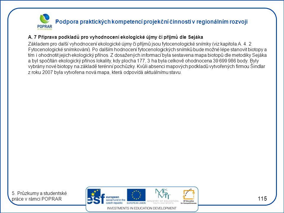 Podpora praktických kompetencí projekční činnosti v regionálním rozvoji 115 A. 7 Příprava podkladů pro vyhodnocení ekologické újmy či příjmů dle Seják
