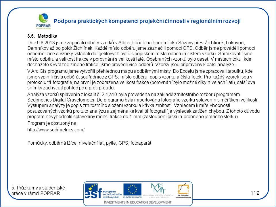 Podpora praktických kompetencí projekční činnosti v regionálním rozvoji 119 3.5. Metodika Dne 9.8.2013 jsme započali odběry vzorků v Albrechticích na