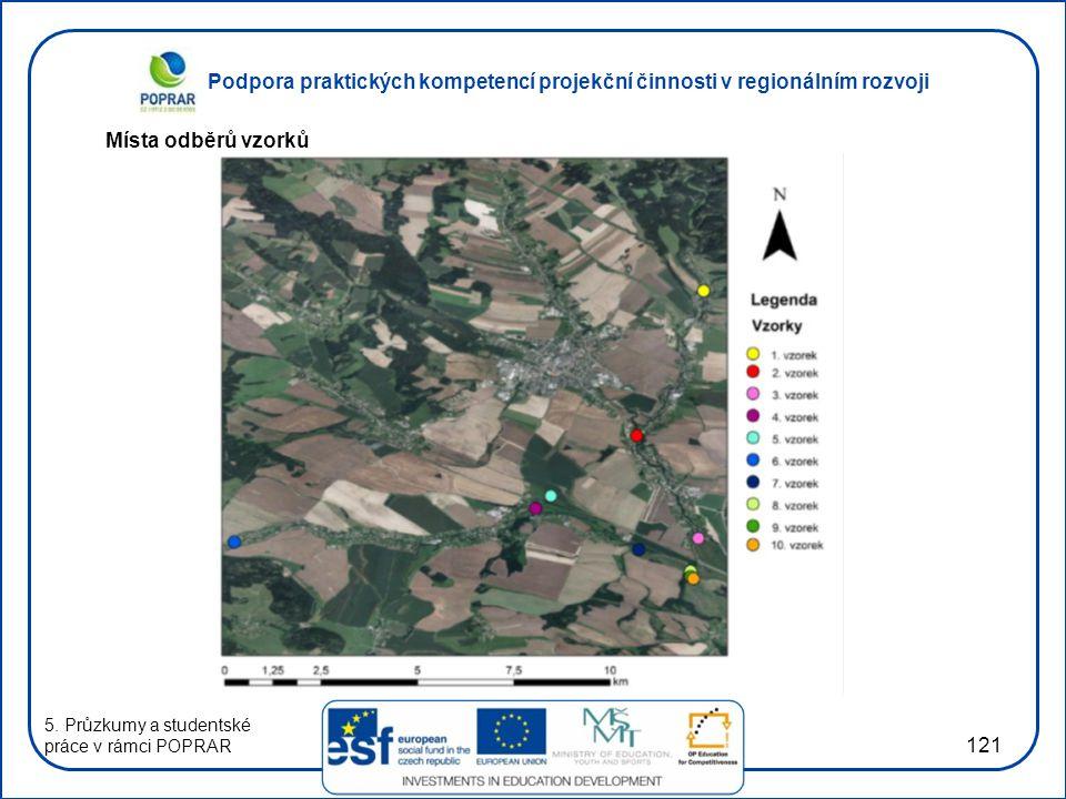 Podpora praktických kompetencí projekční činnosti v regionálním rozvoji 121 Místa odběrů vzorků 5. Průzkumy a studentské práce v rámci POPRAR