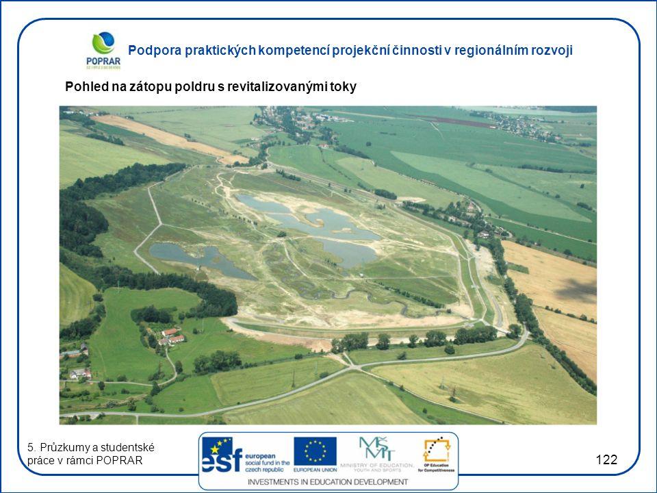 Podpora praktických kompetencí projekční činnosti v regionálním rozvoji 122 Pohled na zátopu poldru s revitalizovanými toky 5. Průzkumy a studentské p