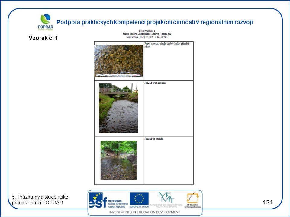 Podpora praktických kompetencí projekční činnosti v regionálním rozvoji 124 Vzorek č. 1 5. Průzkumy a studentské práce v rámci POPRAR