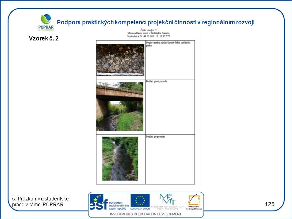 Podpora praktických kompetencí projekční činnosti v regionálním rozvoji 125 Vzorek č. 2 5. Průzkumy a studentské práce v rámci POPRAR