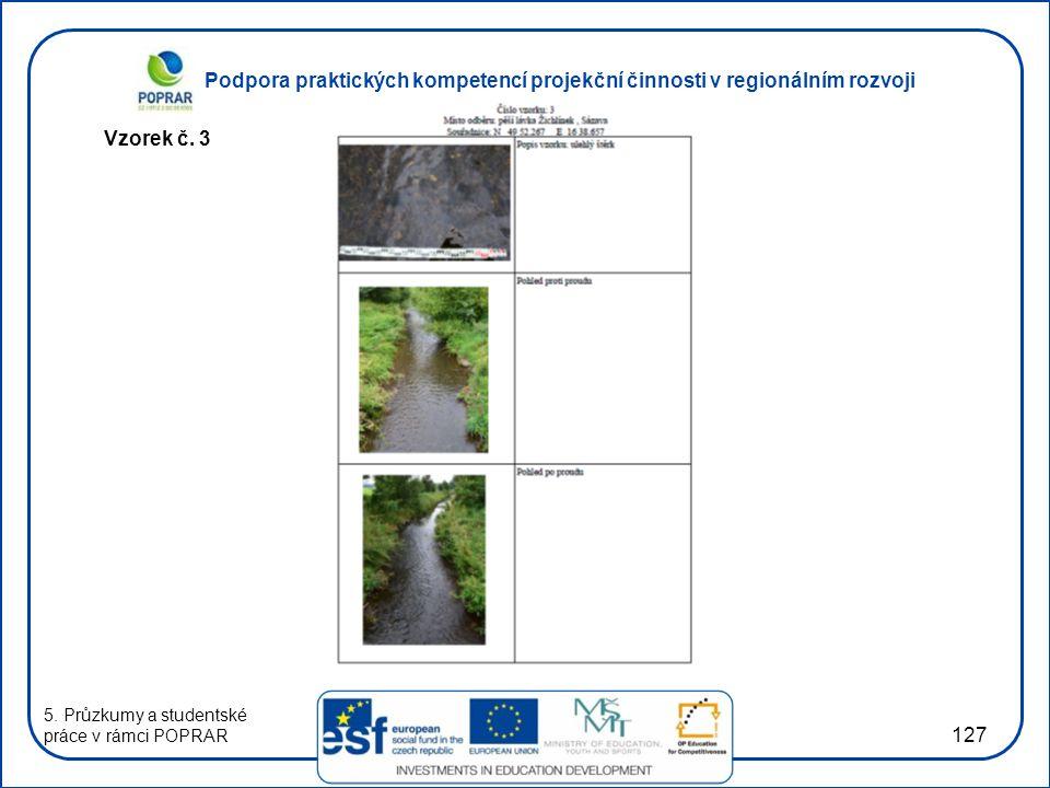 Podpora praktických kompetencí projekční činnosti v regionálním rozvoji 127 Vzorek č. 3 5. Průzkumy a studentské práce v rámci POPRAR
