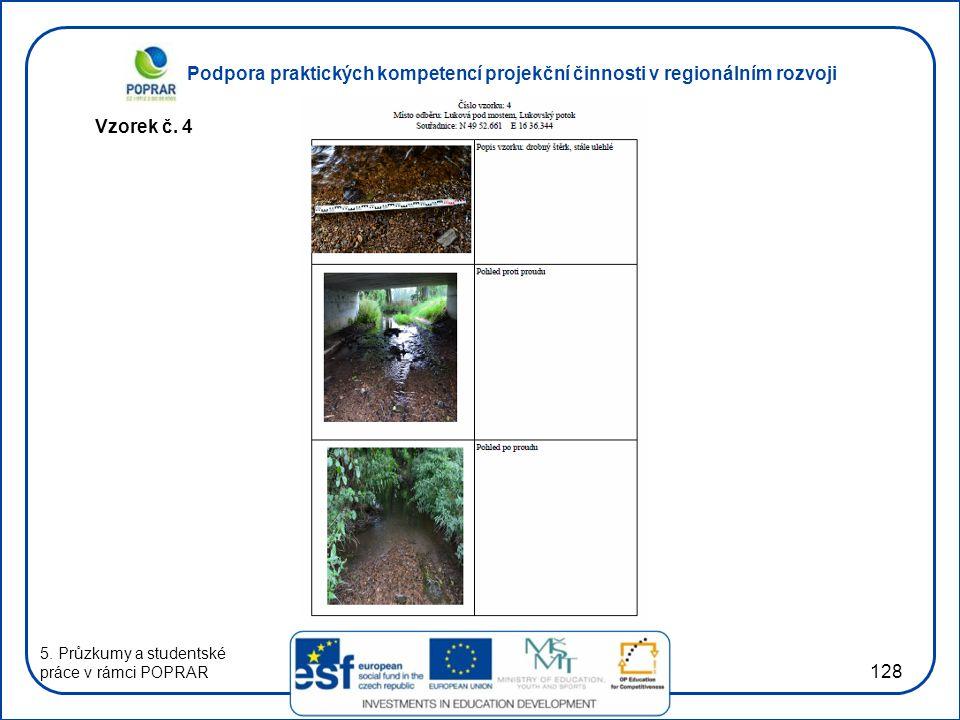 Podpora praktických kompetencí projekční činnosti v regionálním rozvoji 128 Vzorek č. 4 5. Průzkumy a studentské práce v rámci POPRAR