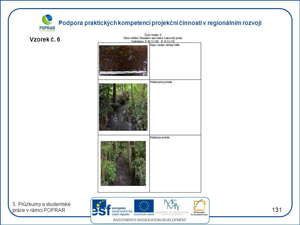 Podpora praktických kompetencí projekční činnosti v regionálním rozvoji 131 Vzorek č. 6 5. Průzkumy a studentské práce v rámci POPRAR