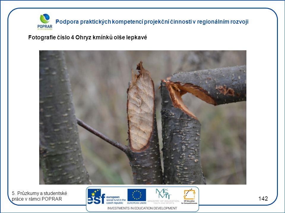 Podpora praktických kompetencí projekční činnosti v regionálním rozvoji 142 Fotografie číslo 4 Ohryz kmínků olše lepkavé 5. Průzkumy a studentské prác