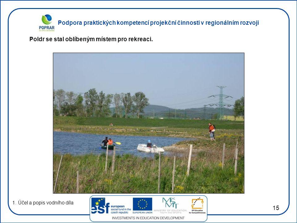Podpora praktických kompetencí projekční činnosti v regionálním rozvoji 15 1. Účel a popis vodního díla Poldr se stal oblíbeným místem pro rekreaci.