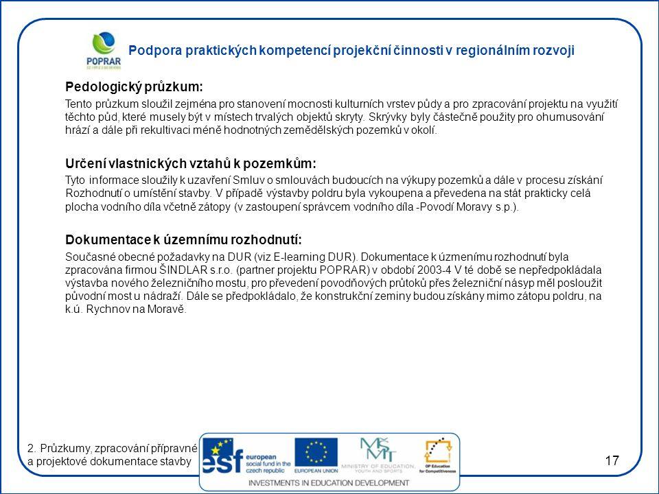 Podpora praktických kompetencí projekční činnosti v regionálním rozvoji 17 Pedologický průzkum: Tento průzkum sloužil zejména pro stanovení mocnosti k