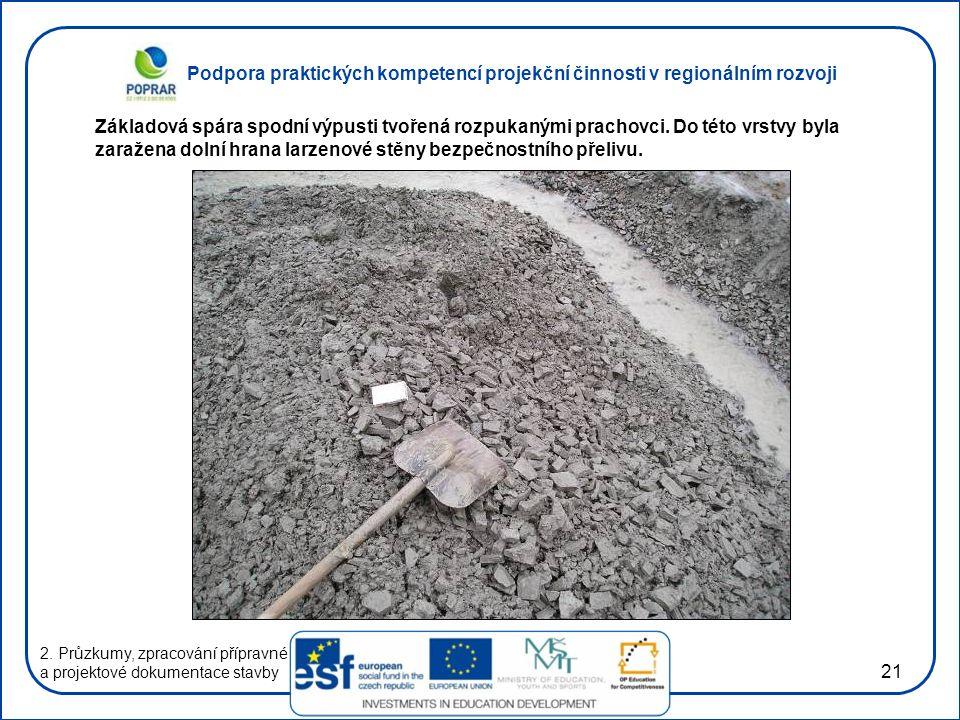 Podpora praktických kompetencí projekční činnosti v regionálním rozvoji 21 2. Průzkumy, zpracování přípravné a projektové dokumentace stavby Základová